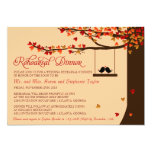 Love Birds Falling Hearts Rehearsal Dinner 13 Cm X 18 Cm Invitation Card