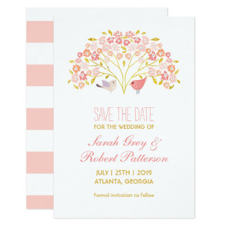 Love Birds Flower Tree Wedding Save The Date Card