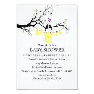 "Love Birds   Gender Neutral Baby Shower Invitation 5"" X 7"" Invitation Card"