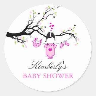 Love Birds   Girl Baby Shower Sticker