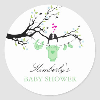 Love Birds   Green Baby Shower Sticker