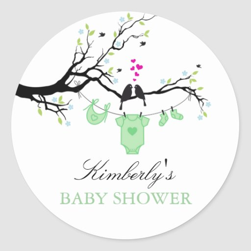Love Birds | Green Baby Shower Sticker