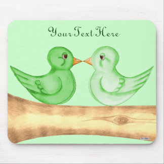 Love Birds (Green) Mouse Pads