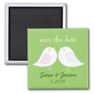 Love Birds Green Save the Date Magnet