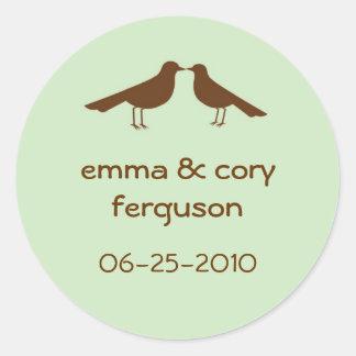 Love birds green wedding favour name tag label round sticker