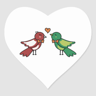 love birds heart sticker