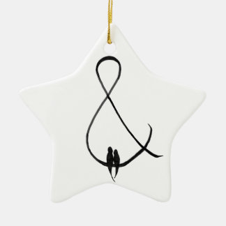 Love Birds in an ampersand Ceramic Ornament