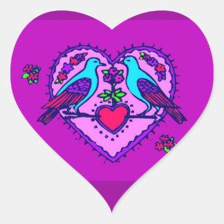 Love Birds in Heart - Heart Sticker