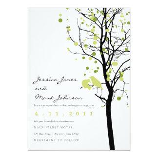 Love Birds in Polka Dot Tree 13 Cm X 18 Cm Invitation Card