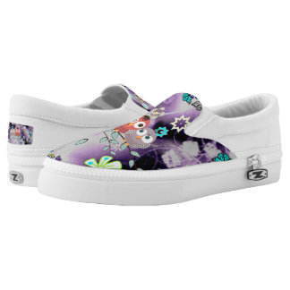 Love Birds in-purple Garden Zipz Slip On-US-Women Printed Shoes