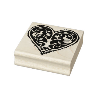 Love Birds In Tree and Heart Rubber Art Stamp