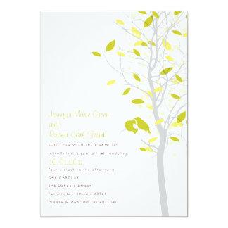 Love Birds in Tree - Citrus Lime & Yellow 13 Cm X 18 Cm Invitation Card