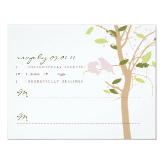 Love Birds in Tree - Green and Lilac Card