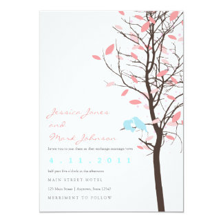 Love Birds in Tree - Pink and Blue 13 Cm X 18 Cm Invitation Card