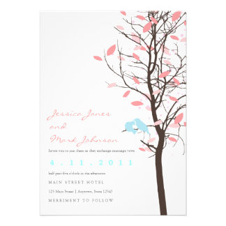 Love Birds in Tree - Pink and Blue Custom Invite