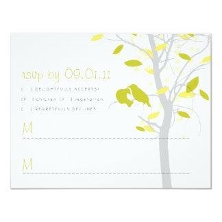 Love Birds in Tree RSVP - Citrus Lime & Yellow 11 Cm X 14 Cm Invitation Card