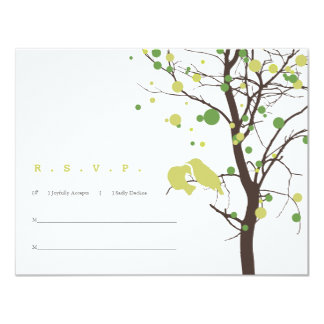 Love Birds in Tree RSVP - Green and Brown Personalized Announcement