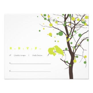 Love Birds in Tree RSVP - Green Polka Dots Custom Invite