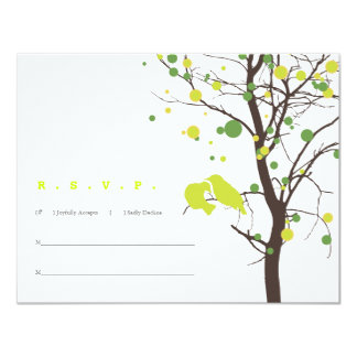 "Love Birds in Tree RSVP - Green Polka Dots 4.25"" X 5.5"" Invitation Card"