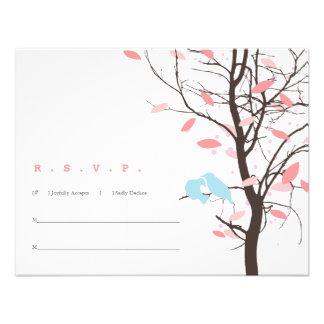 Love Birds in Tree RSVP - Pink and Blue Custom Invites