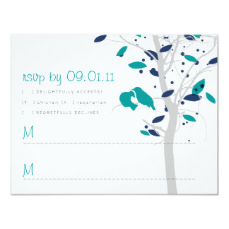 Love Birds in Tree - Teal and Navy 11 Cm X 14 Cm Invitation Card