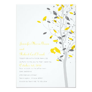 Love Birds in Tree - Yellow & Gray 13 Cm X 18 Cm Invitation Card