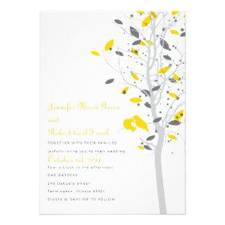 Love Birds in Tree - Yellow & Gray Invitation