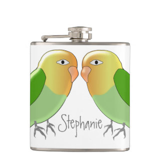 Love Birds Just Add Name Hip Flask