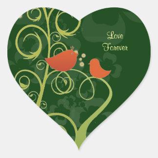 Love Birds - Love Forever Heart Sticker