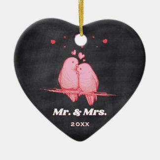 Love Birds Mr. & Mrs. Chalkboard Christmas Ceramic Ornament