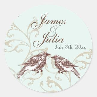 Love Birds 'n Lace - Aqua Wedding Seal Stickers
