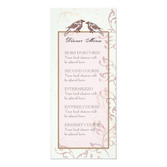 Love Birds 'n Lace - Menu or Wedding Invitation