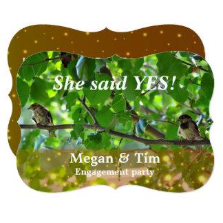 Love birds on a branch invitation
