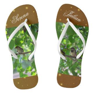 Love birds on a tree branch flip flops