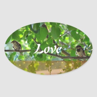 Love birds on a tree branch sticker