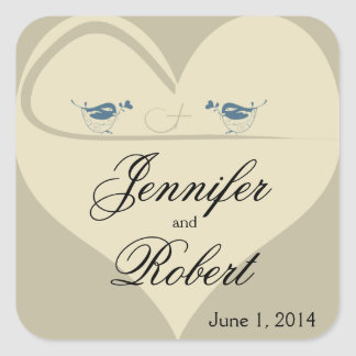 Love Birds on Ecru Heart Wedding Square Sticker