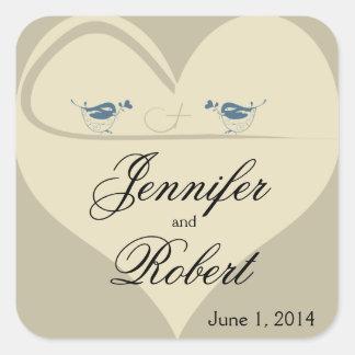 Love Birds on Ecru Heart Wedding Square Sticker