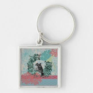 Love Birds on Floral Wreath Keychain