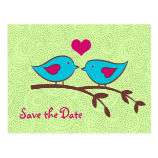 Love Birds on Green Save the Date Postcard