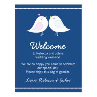 Love Birds on Navy Blue Wedding Welcome Card Postcard