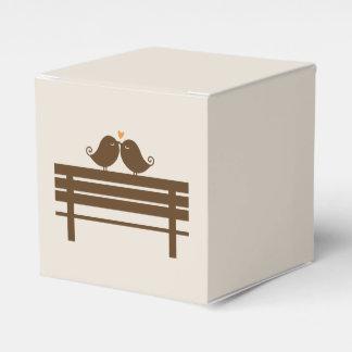 Love Birds on Park Bench {orange} Wedding Favour Boxes