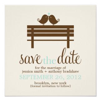 Love Birds on Park Bench Wedding 13 Cm X 13 Cm Square Invitation Card