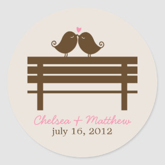 Love Birds on Park Bench Wedding Classic Round Sticker