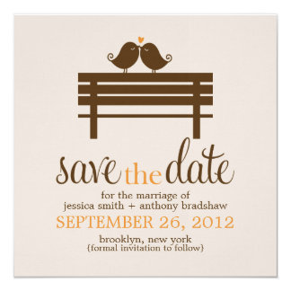 Love Birds on Park Bench Wedding 5.25x5.25 Square Paper Invitation Card