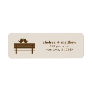 Love Birds on Park Bench Wedding Return Address Label
