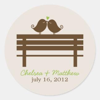 Love Birds on Park Bench Wedding Round Stickers