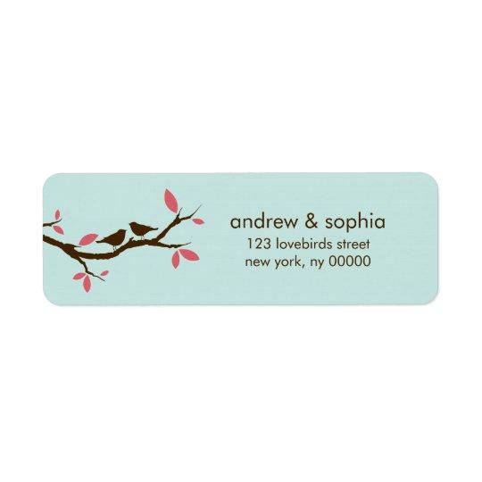 Love Birds on Tree Wedding Return Address Label