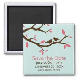 Love Birds on Tree Wedding Save the Date Magnet
