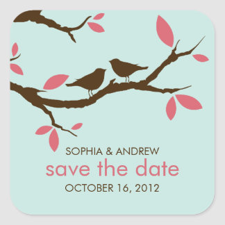 Love Birds on Tree Wedding Square Sticker