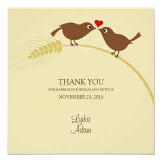 Love Birds On Wheat - Thank You Card - Square